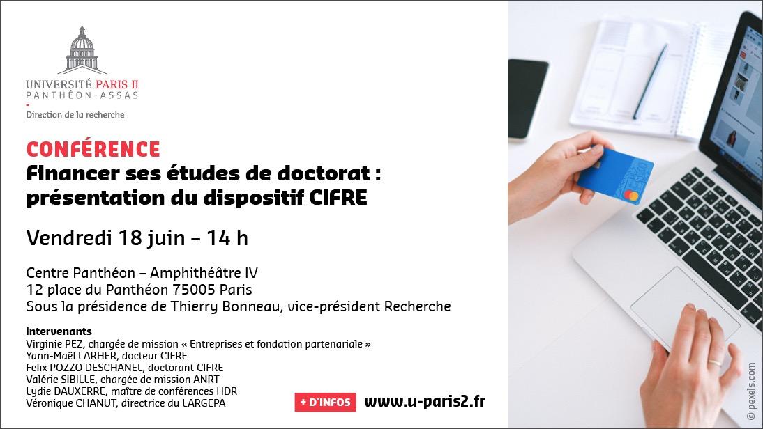 Affiche de la conférence Financer ses études de doctorat : présentation du dispositif CIFRE